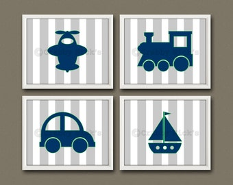 8x10 (4) NURSERY TRANSPORTATION PRINTS - Nursery Art, Nursery Decor, Children's Art - Planes, Trains, and Automobiles... and Boats