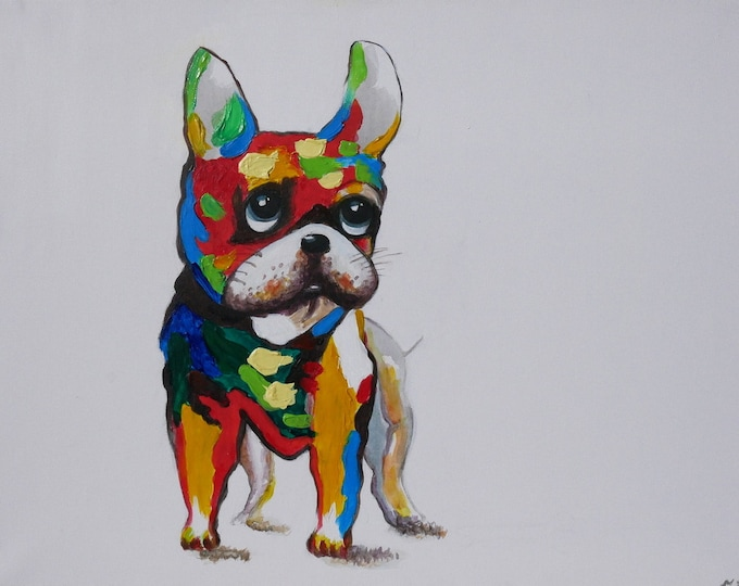 Abstract French Bulldog Oil Painting on Canvas Wall Art Beautiful Decor
