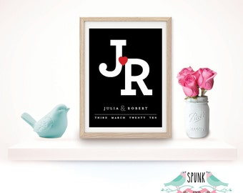 Wedding Anniversary Couple Initial Date Wall Art Print