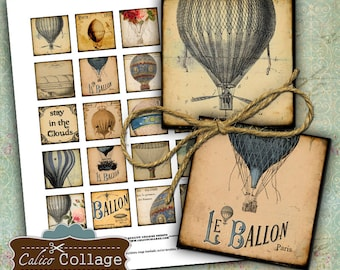 Rustic Hot Air Balloons Digital Collage Sheet 1.5x1.5 Square Images for Pendants Gift Tags Vintage French Printables Calico Collage Art