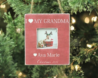 Christmas Ornament Grandma Grandmother Ornament Christmas GIFT Personalized Photo Ornament Gift I Love My Grandma