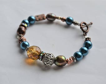 MIXED BEAD Teal and Brown Beaded Copper Toggle Bracelet Minimalist Bracelet