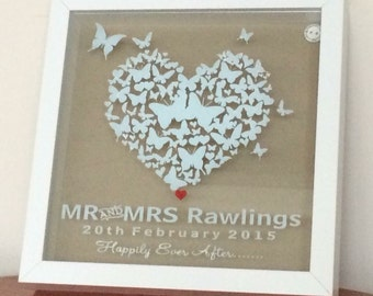 Personalised Butterfly Wedding Shadow Frame