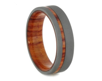 Sandblasted Titanium Ring for Men with Tulipwood Sleeve 6mm, Signature Style