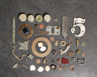 Vintage Scrap Destash for Assemblage, Found Items, Rusty Metal, Brass, Iron, Steampunk Supply, Jewelry Supply, Sculpture Supply
