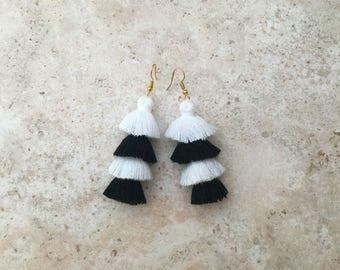 50% OFF Black White Tassel Earrings,Tassel Tiered Earrings,Black and White, Festival, Holidays, Birthday Gift, Dangle Earrings Jewelry Gift