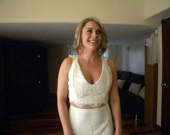Two piece Wedding Dress Vneck Alencon Lace crop top, Key Hole Back, built in Bra and button closures