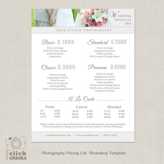 Attractive Wedding Photography Package Pricing List Template   Photography Pricing  Guide   Price List   Price Sheet  019   C077, INSTANT DOWNLOAD