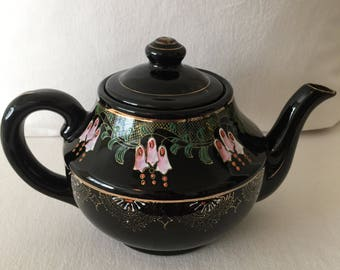 Vintage Brown Teapot ~ Made in Japan ~ Hand Painted Flowers
