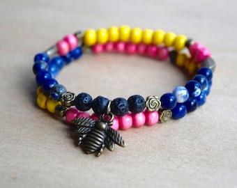 Sodalite Bracelet / energy bracelet, bee jewelry gift, intuition bracelet, third 3rd eye chakra, spiritual guidance, throat chakra stone