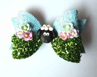 Spring lamb hair bow - easter floral sheep hair clip - girls hair accessory