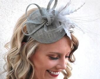 Gray Fascinator, Women's Tea Party Hat, Tea Party Fascinator, Wedding Fascinator, Church Hat, Wedding Hat, Church Fascinator, Derby Hat,