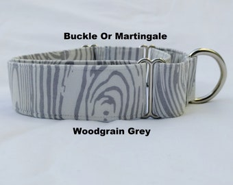 Woodgrain Grey-Choose Buckle or Martingale Dog Collar-Traffic-Dog Leash- Small-Large Breed Dog-1 inch 1.5 -2 inch width-