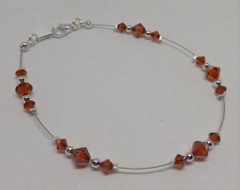 Swarovski Crystal Effects Red Magma Anklet