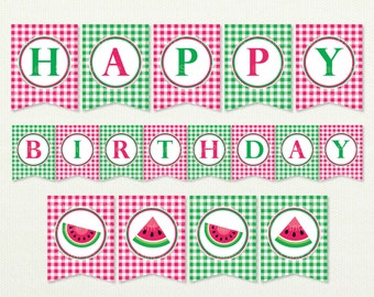 Watermelon Happy Birthday Banner - Watermelon Banner - Watermelon - Watermelon Birthday - Birthday Banner - Style MSP114