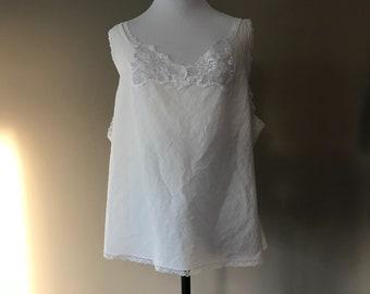 42 / Plus Size Camisole Top / White Cotton / Plus Size Lingerie / 1X / FREE USA Shipping