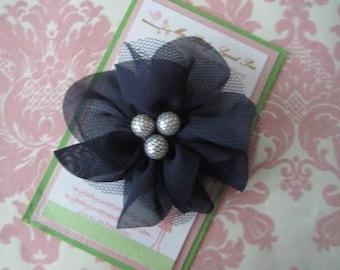 Girl hair clips - navy blue flowers - girl barrettes