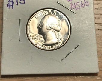 Drummer boy Silver bicentennial Quarter S 1776 to 1976 MS65 Uncirculated Brilliant mirror proof.