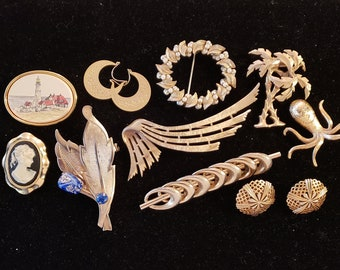 Lot of 8 Vintage Brooches from good to excellent condition. Ready to wear.  Plus Earrings