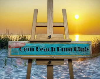 Gem Beach Beach Bum Club Vintage/Rustic/Retro Handmade Wooden Sign