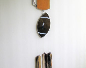 Dad's  Dream  Catcher- stained glass sun catcher, wind chimes- Beer, Bacon, Football