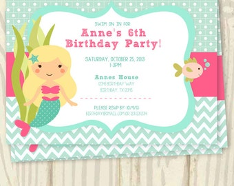 Mermaid Birthday Party Invitation - 5x7