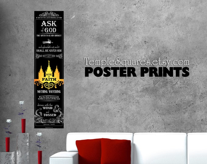 "LARGE posters print Ask of God Ask in Faith James 1 5-6  YW 2017 mutual theme. UV archival ink printed poster. 1x4 ft or 9""x36"" sizes"