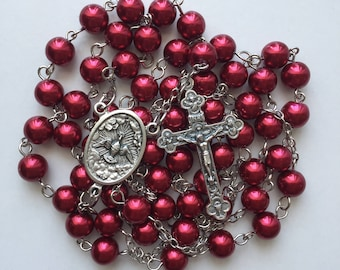 Deep Red Beaded Rosary with Case