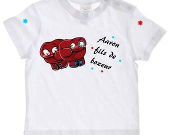 tee shirt baby son Boxer personalized with name