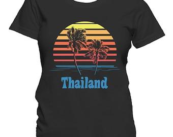 Thailand Sunset Palm Trees Beach Vacation Women's T-Shirt