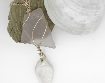 Pink Seaglass and Shell Necklace