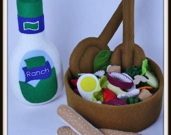 Chef's Salad Play Food Pattern, Felt Food Salad, Felt Food Set, Felt Food Pattern, Felt Play Food Pattern, Felt Salad Set, Felt Toy Pattern