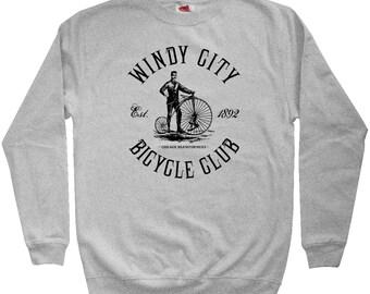 Bike Windy City Hoodie - Men S M L XL 2x 3x - Chicago Hoody, Sweatshirt, Cycling, Bicycle - 3 Colors