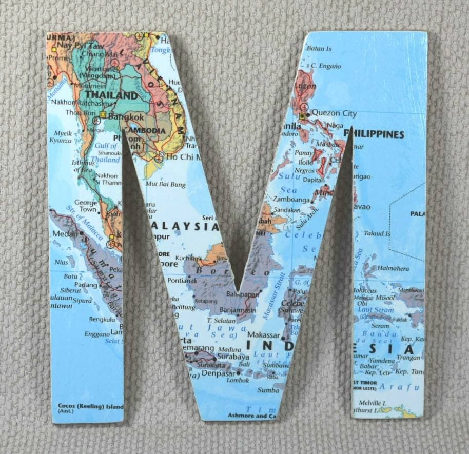 Custom World Map Wooden Wall Letters
