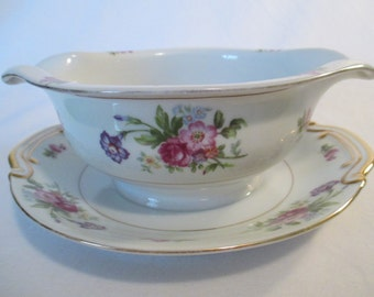 Vintage Union China Gravy Boat with Imperfection, Thanksgiving, Christmas