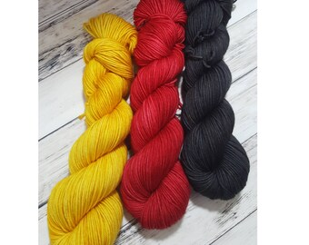 Classic Canadian Tractor Trio - Sedimentary DK weight hand dyed yarn, perfect for Hats, Cowls and all winter Accessories - Pre-order