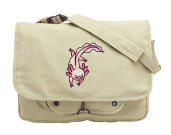 Adventurous Axolotl Embroidered Canvas Messenger Bag