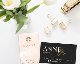 MONAT Business Cards blush and black - DIGITAL FILE only