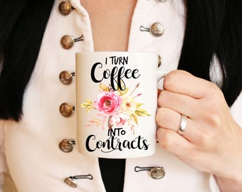 Christmas Gifts Coffee Into Contracts - Realtor Mug - Realtor Gift - Gift for Realtor - Realtor Closing Gift - Real Estate Agent Gift