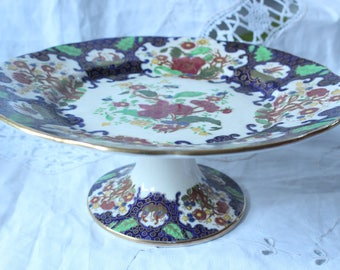 1930 Hand painted Soho Pottery Cake stand made in England