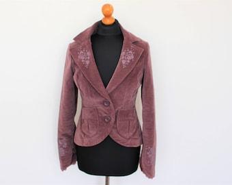 Purple Velveteen Jacket Plum Velvet  Blazer Women's Renessance Jacket  Fitted Boho Medium  Size