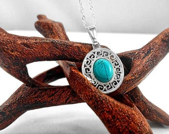 Sterling Silver Stone Necklace/ Stone Jewelry/ Oval/ Pendent/ Black Onyx/ Turquoise/ Red Jasper/ Green Malachite