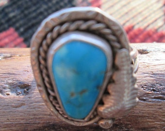 Native American Turquoise and Sterling Silver Feather Ring Size 8