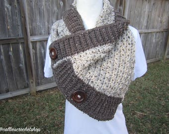 Crochet Cowl/Winter Cowl/Fall Cowl/Buttoned Cowl/Buttoned Scarf/Crochet Scarf/Winter Scarf/Fall Scarf
