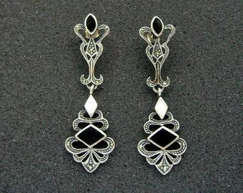"Vintage Sterling Silver Mother of Pearl Marcasite Onyx Gemstone Dangle Earrings 3.25"""