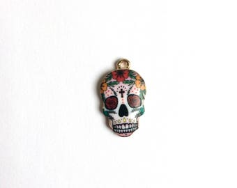 Rose Gold Plated Sugar Skull Charm - 1 piece - 150 -