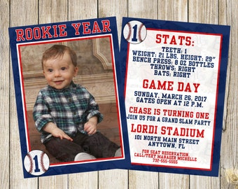 Personalized Rookie Year Baseball theme invitation with photo. Double sided, 2 sizes available. PRINTED & SHIPPED full service