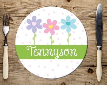Girls Personalized Plate, Flower Plate, Melamine Dishwasher Safe Plate, Kids Plate, Name Plate for Kids, Girls Flower Plate, Birthday Gift