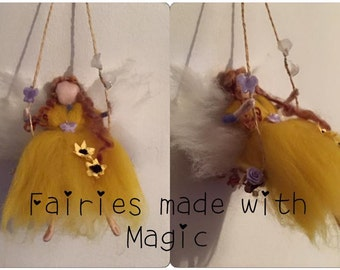Needle Felt Fairy on a Swing, Waldorf inspired Fairy