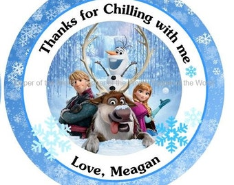 12 Personalized Disney Frozen Birthday Party Favor Thank You Tags or Stickers you choose